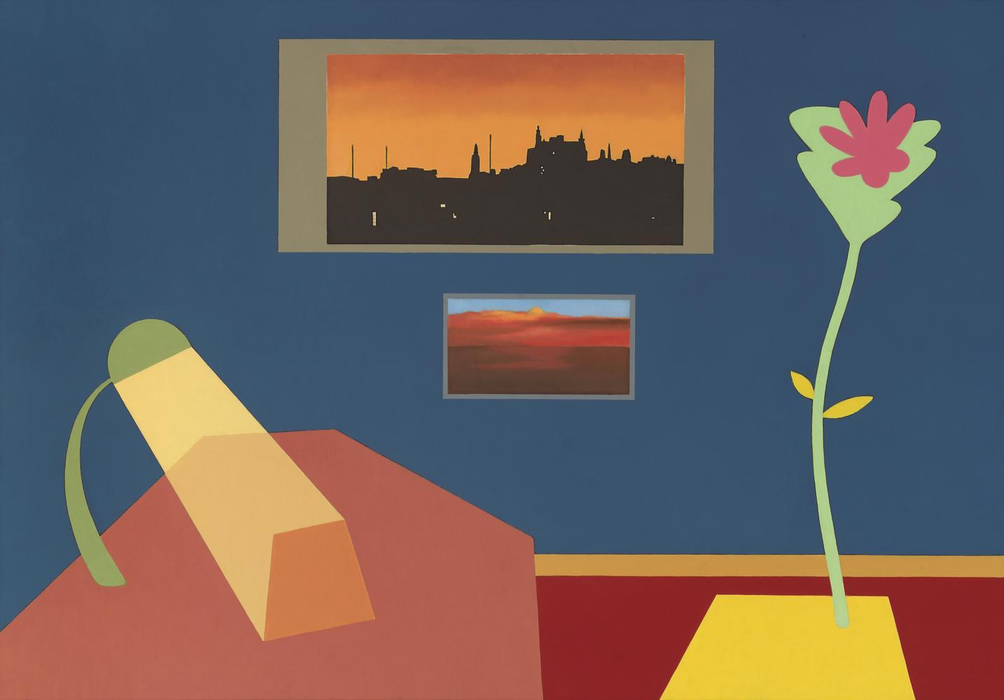 Interior con flexo, flor y postales de Barcelona, 81 x 116 cm, óleo lienzo, 2003.