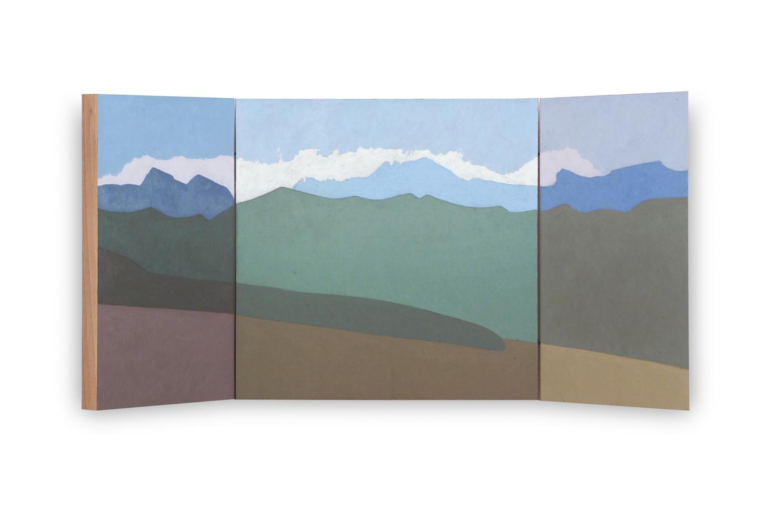 Pirineos (Tríptico), 40 x 80 cm, óleo sobre madera, 2004.