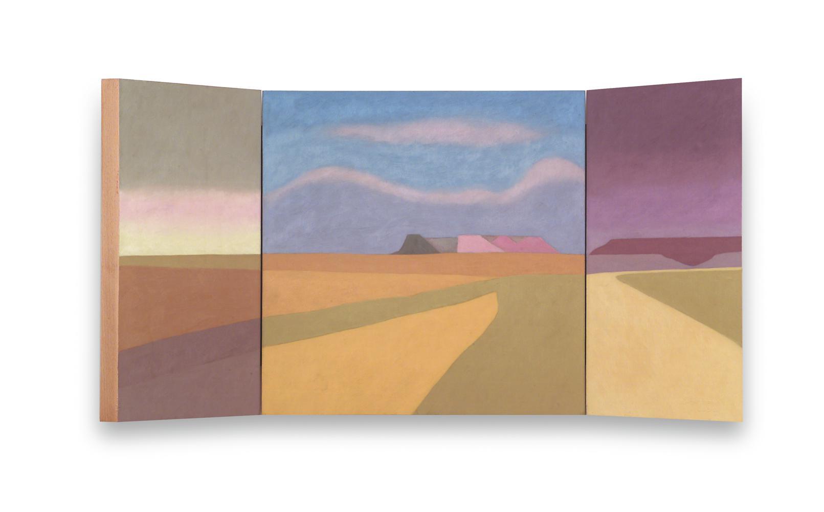 Bardenas (Tríptico), 40 x 80 cm, óleo sobre madera, 2004.