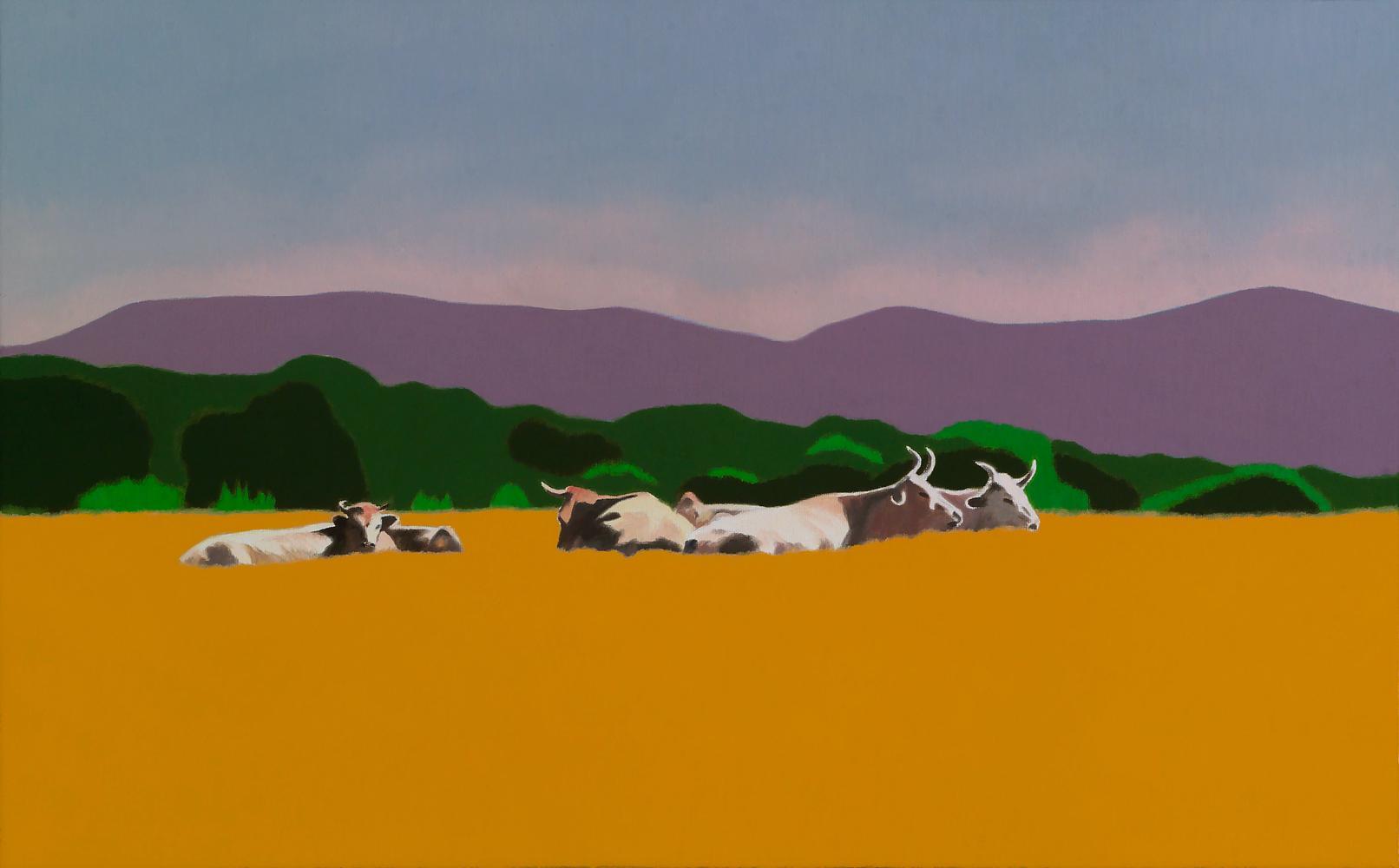 Vacas en Burguete, 38 x 61 cm, óleo lienzo, 2015.