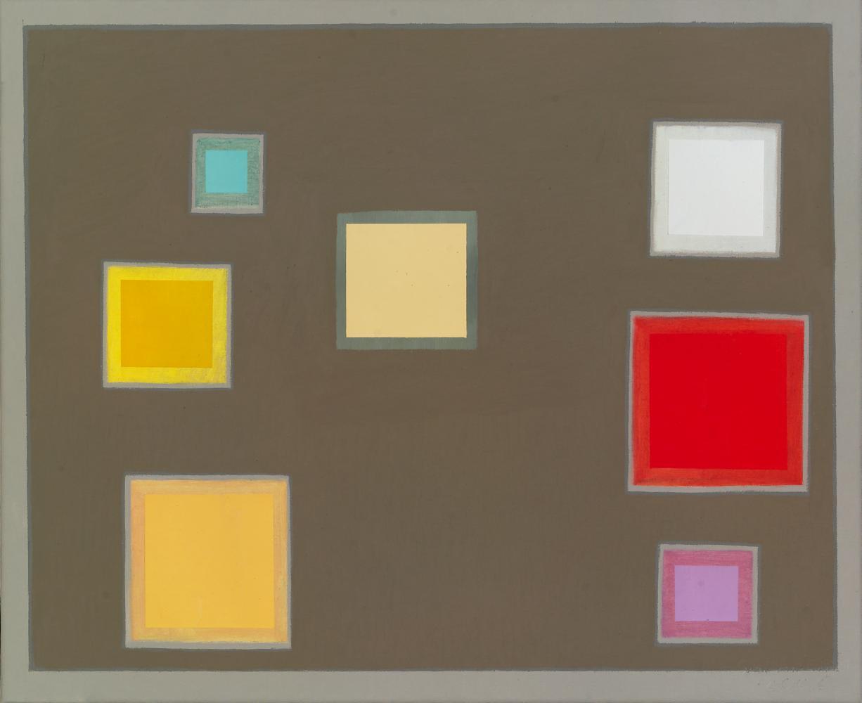 Siete cuadrados, 38 x 46 cm, óleo lienzo, 2006.