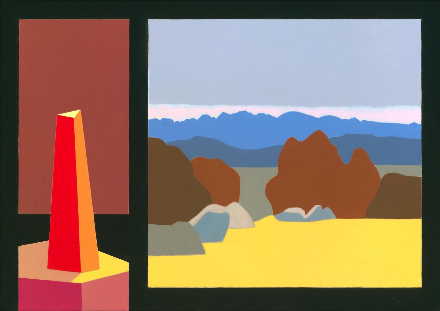 Monolito y Pirineos, 65 x 92 cm, óleo lienzo, 2015.