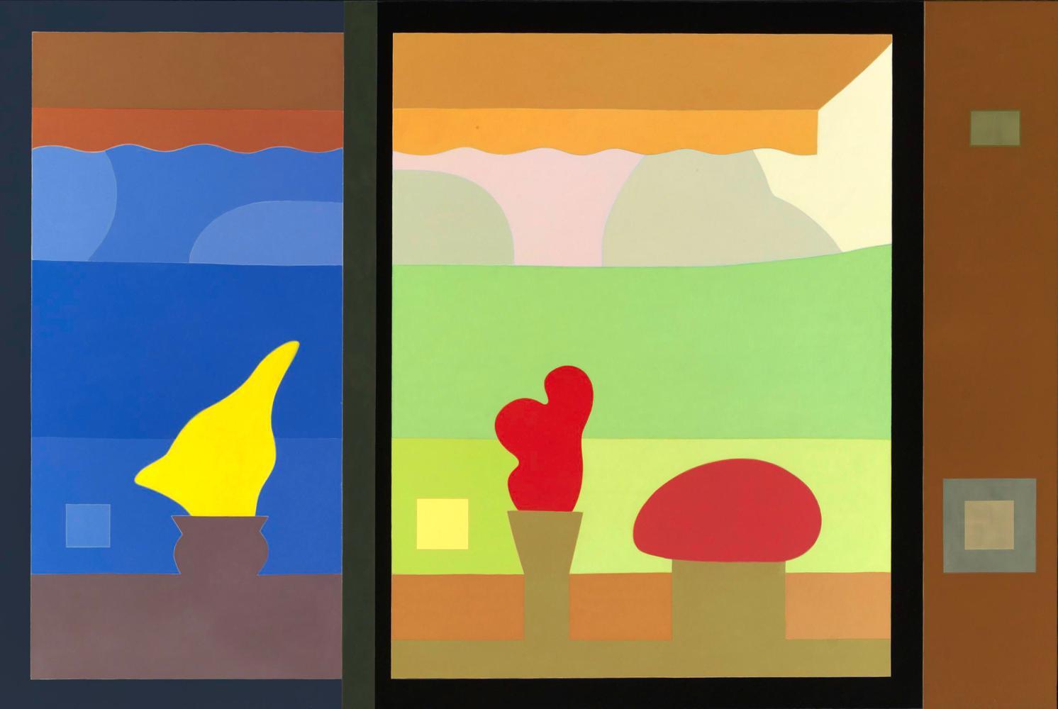 Escenario para las horas felices (jardín de primavera), 114 x 195 cm, óleo lienzo, 2006.