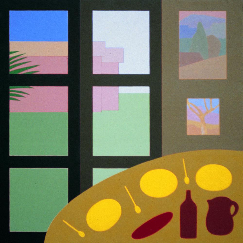 Comida en casa, 100 x 100 cm, óleo lienzo, 1996.