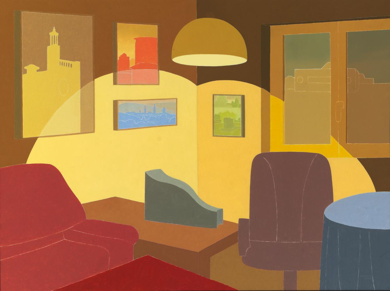Pamplona en mi cuarto de estar, 97 x 130 cm, óleo lienzo, 1994.