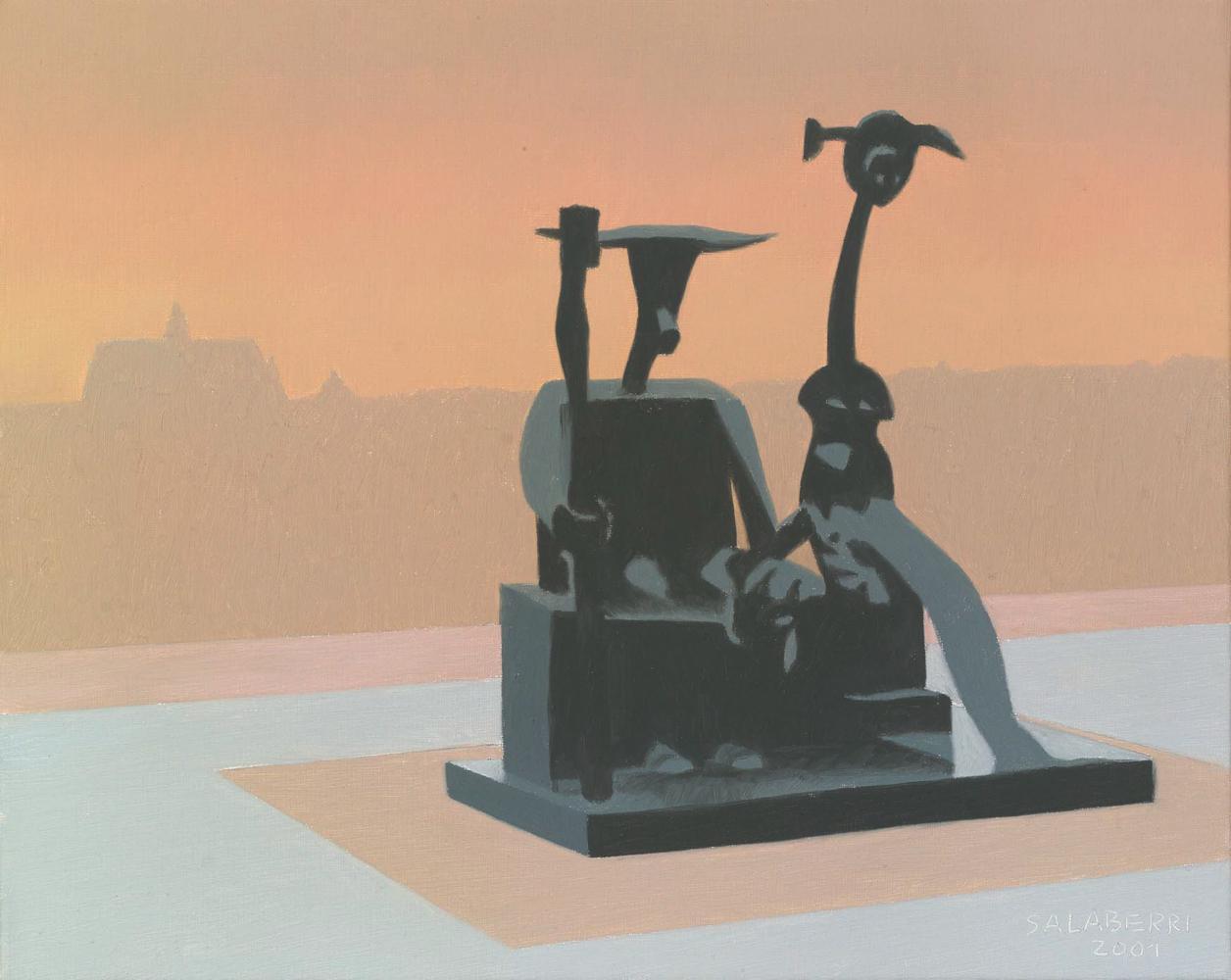 Ernst en el Pompidou, 33 x 41 cm, óleo lienzo, 2001.